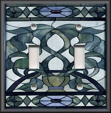 Metal Light Switch Plate Cover - Art Nouveau Home Decor Stained Glass Blue Grey