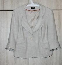 Principles Petite Beige Ivory Linen Viscose Jacket Blazer Lined 3/4 Sleeve UK14