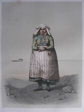 1872 PRINT SWEDISH PEASANT COSTUME ~ DISTRICT OF BARA WOMEN Skanska Folkdragter