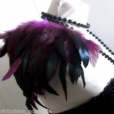 QUALITY PURPLE COQUE FEATHER EPAULETTES SHOULDER PAD PARTY EVENING TOP GOTH DIVA