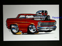 "Quick Service Hot Rod Grill Drawn By Trosley Poster Print Art Garage 24/"" by 32/"""