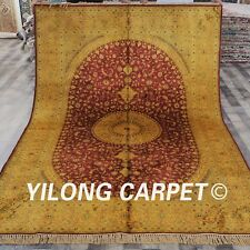 YILONG 6'x9' Handmade Silk Persian Washed Rug Antique Palace Gold Carpet G77C