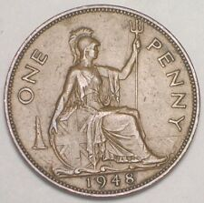 1948 Uk Great Britain British One 1 Penny King George Vi Coin Vf+