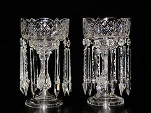 Magnificent Pair Of Large Bohemian Crystal Luster Candle Holder With Prisms.