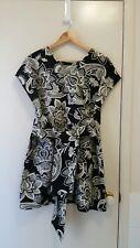 NEW Monochrome Linen shift dress with tie waist belt, size 12-14