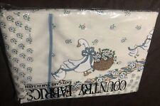 "VTG Goose Tablecloth Polyester 52""x70"" Easycare Floral Country Wicker Blue White"