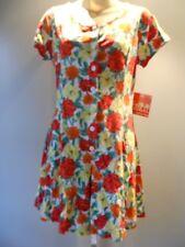 New Red Tropical Flower Playsuit Romper Summer Sport Shorts Dress Mod Retro XS