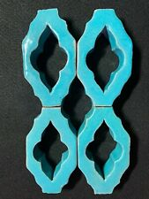 Set/4 Antique Persian Window Lattice Tile Turquoise 1800s Intricate Pattern