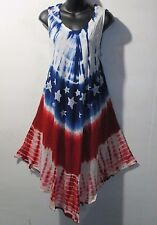 Dress Fits XL 1X 2X Plus Sundress Red White Blue Stars Striped Tie Dye NWT 7145
