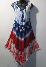 Dress Fits 1X 2X 3X Plus Sundress Red WHite Blue Stars Stripes July 4th NWT 7145