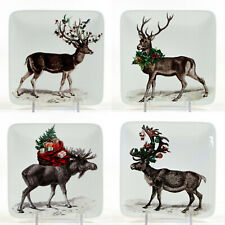 """NEW Pottery Barn SILLY STAG 5.5"""" Appetizer Plate Set 4P Reindeer Moose Christmas"""