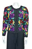 LOUIS FERAUD Gorgeous Silk & Floral Sequined French Evening Jacket SIZE US 8