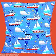 "Brand NEW YACHT navi da pesca Balena Pesce Spada per Bambini Cotone 16 ""Cuscino"