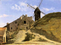 Art Oil painting Corot - Nice Landscape A Windmill in Montmartre canvas 36""