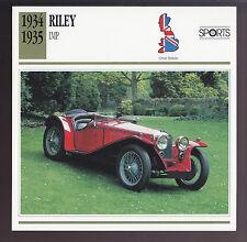 1934-1935 Riley Imp British Sports Car Photo Spec Sheet Info ATLAS CARD
