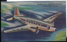douglas dc-3 airplane postcard circa 1947