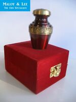 Burgundy with Gold Band Keepsake Cremation Memorial Ashes Brass Urn +Velvet Case