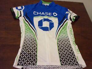 Chase bank used womens xl cycling biking jersey Primal blue
