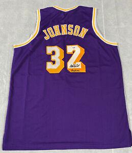 "Magic Johnson Signed Purple Jersey with ""Showtime"" Inscription Auto PSA DNA COA"