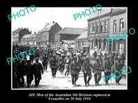 OLD POSTCARD SIZE PHOTO OF AIF ANZACS 5th BATTALION PRISONERS FROMELLES 1916