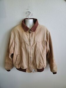 Vintage Carhartt Mens Quilt Lined Leather Work Jacket Size XL