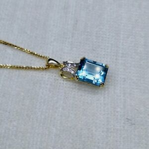 NATURAL GREAT BLUE TOPAZ NECKLACE  IN STERLING SILVER GOLD PLATED FINE JEWELRY