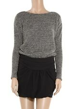Jay Ahr Mohair Twill Knit Dress Gray Black Mini Long Sleeve Striped L Ruched