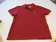 Volcom Mens short sleeve polo shirt burgandy red school work L Cotton GUC
