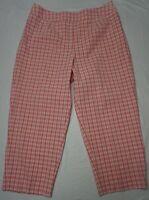 Talbots Women's Size 12 Stretch Pink & White Gingham Crop Pants Cotton Spandex