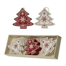 BOX 12 ALBERO DI NATALE DECORAZIONI ALBERO in legno color crema e rosso stile nordico