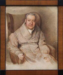 """Johann Zukowa """"Portrait of an Elderly Gentleman"""", Watercolor, 1840"""