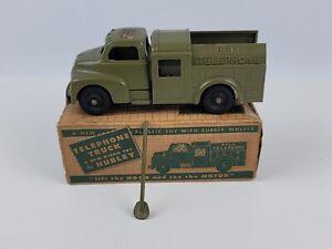 Vintage Hubley Kiddie Toy Plastic Bell Telephone truck w/ Box & Shovel #327