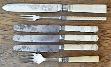 LOVELY SHEFFIELD 1880 SILVER PLATED CAKE FORK STEEL BUTTER KNIVES Antique Handes