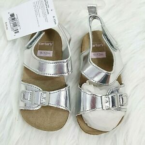 Carters Metallic Cork Sandal Baby Shoe Silver Size 9-12 Months