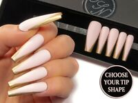 Matte Pink Gold French Fake False Glue On Press On Hand Painted Gel Faux Nails