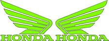 HONDA WINGS 2x115mm Motorcycle Bike Tank Fairing Decals / Sticker ( LIME GREEN )