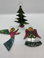 Vintage Lot Of Painted Cutout Metal Christmas Ornaments