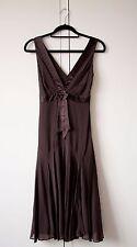 Vestido de fiesta TAD Baker 100% Seda Mujer de verano sin mangas Marrón Correa UK Size 8
