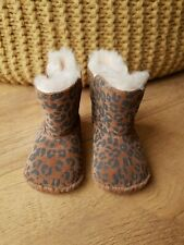 UGG BABY BOOTIES BOOTS Brown Suede Leather Leopard Print UK 2 / EUR 18 - VGC