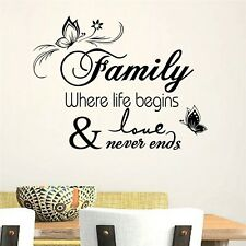 Inspirational Sticker Family Life Love Quotes Wall Stickers Decal Home Decor New