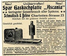 Schmalisch & below Berlín Spar gaskochplatte Ascania histórico anuncio 1899