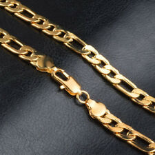 Fashion 18K Yellow Gold Plated Mens Womens Figaro Link Chain Necklace 7mm 26Inch