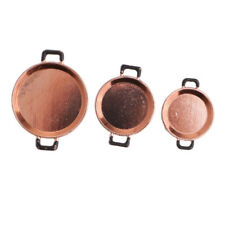 3pc Dollhouse Miniature Kitchen Accessories Frying Pan Cookware Copper+Black