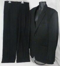 Pronto Uomo Mens Suit 46 Reg Jacket 2 Button Unvented 36 Reg Slacks Black Wool