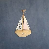 Wooden Boat - Driftwood Boat - Anchor - Bathroom Decor - Starfish - Nautical