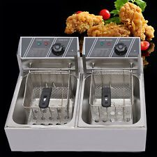 New Listing2tank 12l Electric Deep Fryer Commercial Countertop Basket French Fry Restaurant