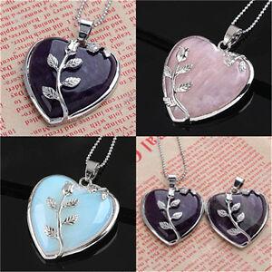 Women Heart Healing Mineral Gemstone Pendant Chakra Reiki Necklace Jewelry