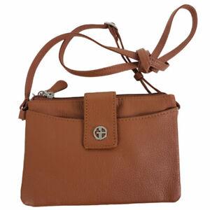 Giani Bernini Leather Softy Mini Accordion Crossbody Bag, Cognac Brown