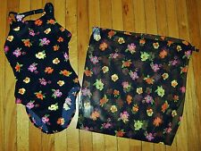 NOS Vtg 90's South Point JANTZEN 1 Pc Swim Suit & Cover Sz 8 High Cut Floral
