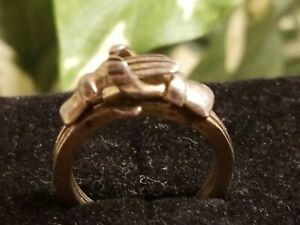 VINTAGE FEDE FRIENDSHIP GIMMEL RING 925 STERLING SILVER TAXCO MEXICO Hands Heart